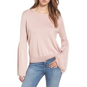 Leith Sweater Bell Sleeve Crew Neck Blush Pink S